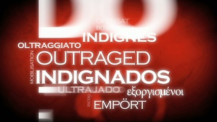 Los Indignados international traduction tag cloud animation