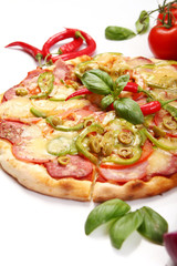 Tasty pizza with pepperoni on white background