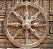 Closer look of the splendid chariot wheel, Sun temple Konark