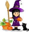 Girl witch  with cat pumpkins