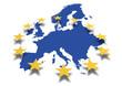 Leinwanddruck Bild - Europa *** Karte mit EU-Sternenbanner