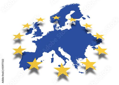 Leinwanddruck Bild Europa *** Karte mit EU-Sternenbanner