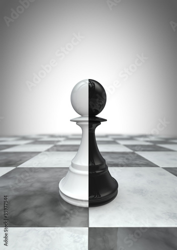 Big pawn black and white