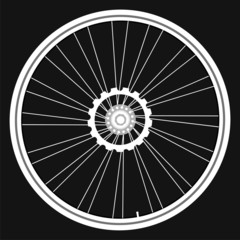 white Bicycle wheels isolated on black background vector