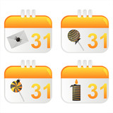 set of 4 halloween calendar icons