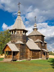 The traditional russian wooden church for tourists in the ancien