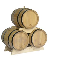 деревянные бочки для вина на белом фоне