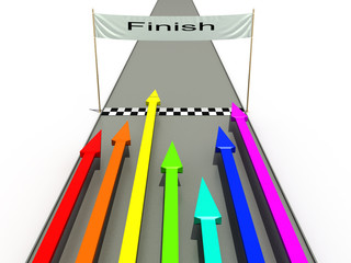 Finish with colored arrows on a white background №1
