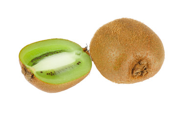 Halved fresh juicy kiwi on a white background