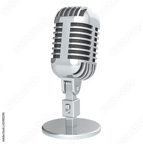 Microphone. Retro Microphone, silver. Isolated on white.