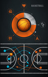 infographics element with sports basketball Ball poster