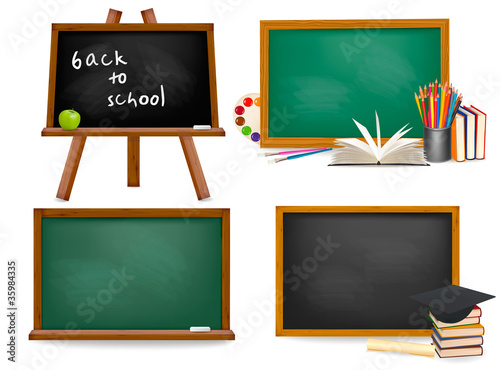Set of school blackboards. Vector.