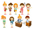 cartoon pretty office woman worker icon set