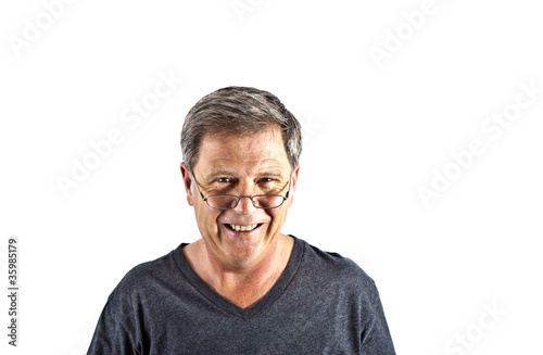 attractive smiling man with black shirt in Studio