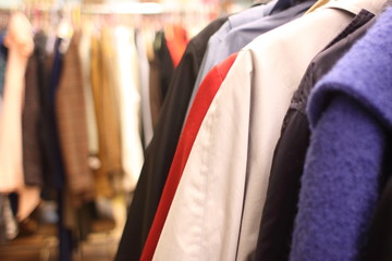 Used woman's clothing in a store.