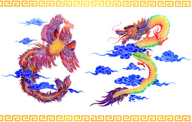 plate of glass dragon and swan