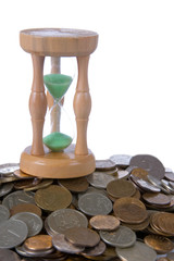 Coins and  hourglass