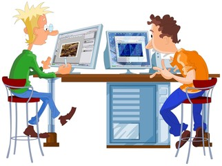 designer and programmer working in office at the computer
