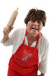 Angry woman with rolling pin