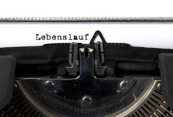 Lebenslauf auf der Schreibmaschine geschrieben