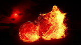 Skeleton biker on fire 1