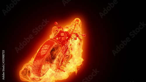 Skeleton biker on fire 2