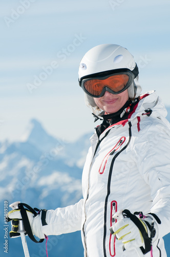 Female skier in Swiss Alps