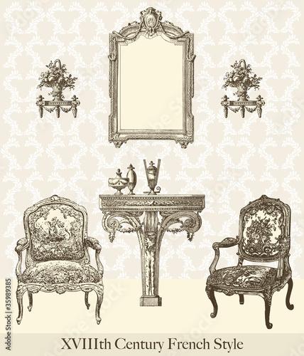 meubles 18 me si cle fichier vectoriel libre de droits sur la banque d 39 images. Black Bedroom Furniture Sets. Home Design Ideas