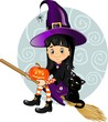 Witch girl flying background decorated