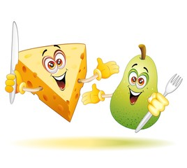 Pera e Formaggio Fumetto Cartoon-Cheese and Pear Comics