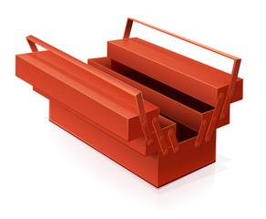 Boîte à outils rouge ouverte (reflet)