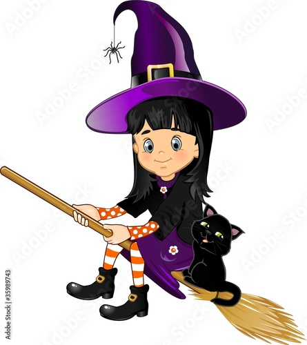 Witch flying girl