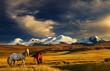Fototapeten,pferd,wolken,sonnenuntergang,berg