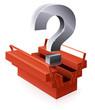 Boîte à outils rouge en question (reflet)
