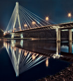 Fototapety Night view of the new Swietokrzyski Bridge in Warsaw.