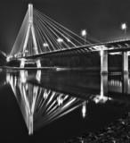 Night view of the new Swietokrzyski Bridger in Warsaw.