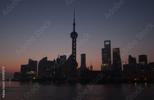 skyline of Shanghai at dawn