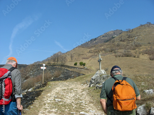 two Walker in mountain trail