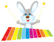 Rabbit plays a xylophone