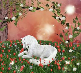 Bellissimo unicorno in una radura incantata