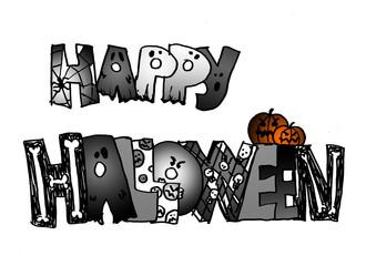 happy halloween bianco e nero