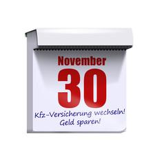 bis 30.11. kfz versicherung tarife checken wechseln kalender