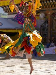 Bhutan - October 2010: Masked man are dancing on a tsechus (Bhut