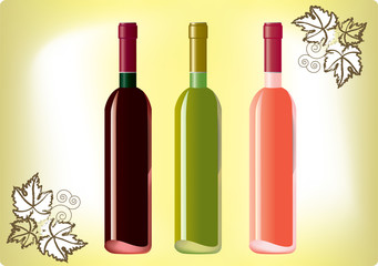 Set of red, white and rose wine bottles on the old papper.