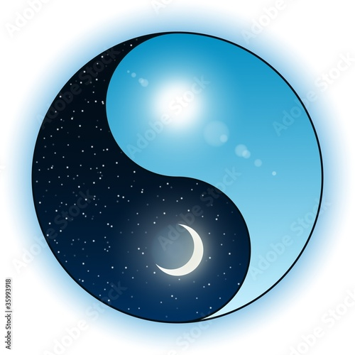 Sun and moon in Yin Yang symbol