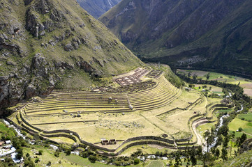 Ancient Llactapata Inca Ruins in Urubamba valley