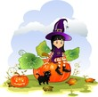 Witch girl sitting on pumpkin with cat landscape