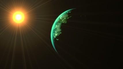 Soleil et clair de Terre