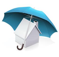 Maison et assurance habitation (reflet)