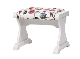 White footstool with floral print isolated. With clipping path.